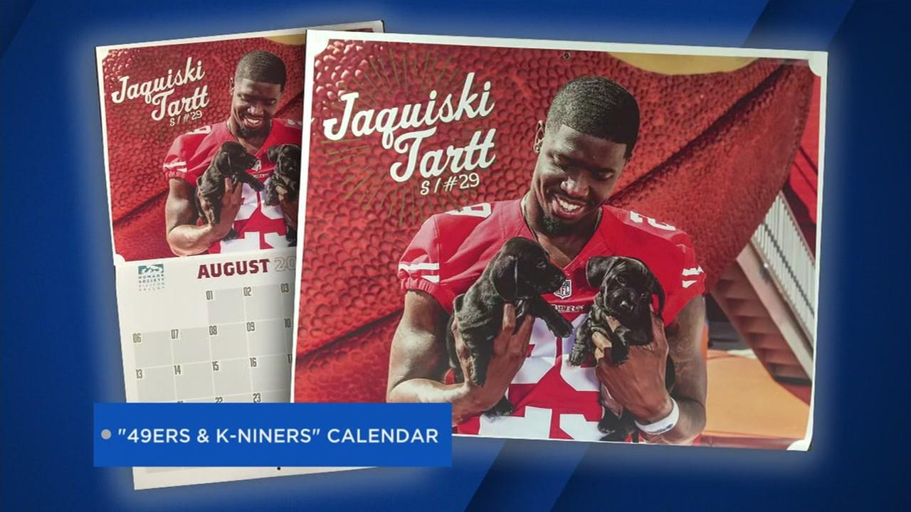 This undated image shows the 49ers Jaquiski Tartt posing with puppies for a charity calendar.