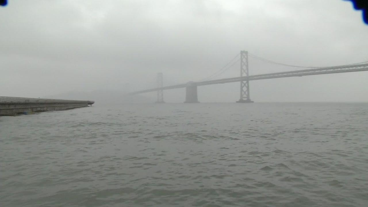 The Bay Bridge is seen engulfed in rain during the first big storm in the Bay Area on Oct. 14, 2016.