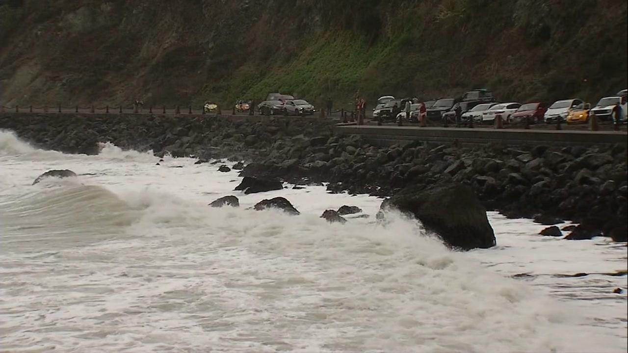 Waves crash against the shore in Pacifica, Calif. in this undated photo.