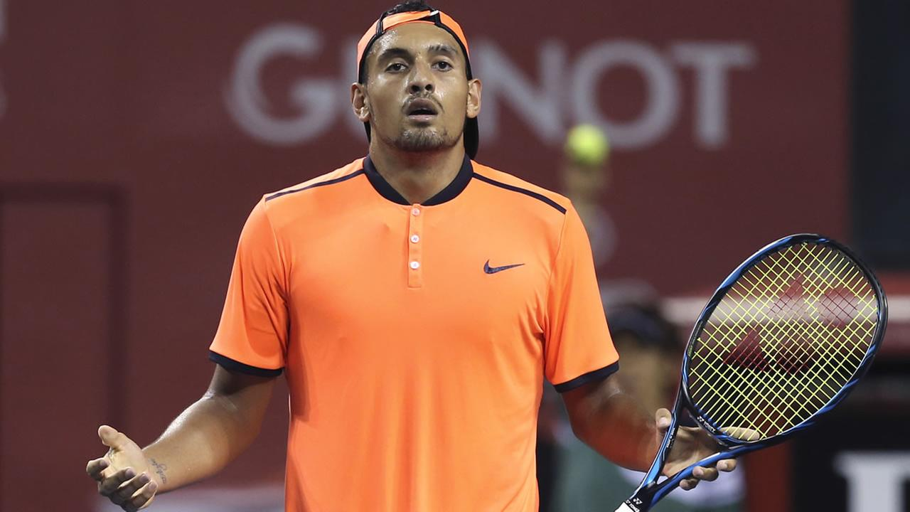 In this Saturday, Oct. 8, 2016, file photo, Australias Nick Kyrgios reacts after getting a point during the semifinal match of Japan Open tennis championships in Tokyo.