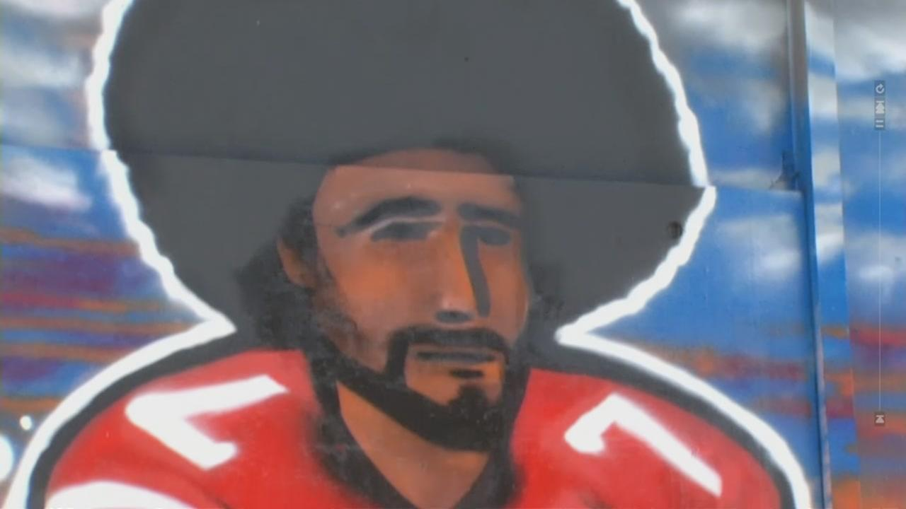 This undated image shows a close up of a mural of the San Francisco 49ers player Colin Kaepernick.