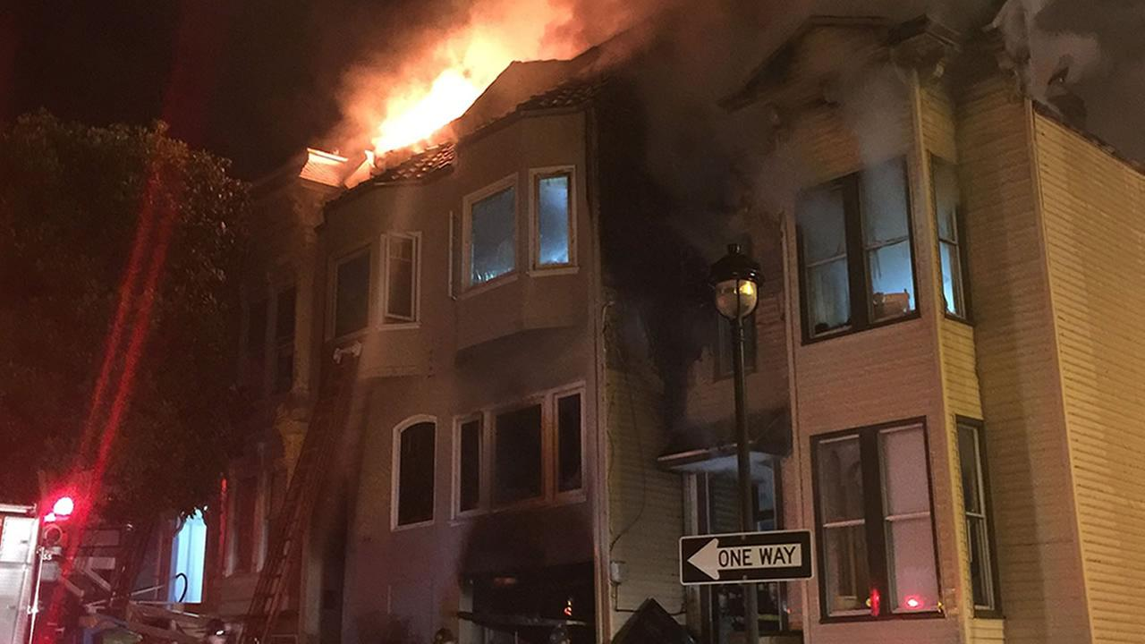 This image shows a two-story-home on fire in San Franciscos Catsro District on Oct. 20, 2016.