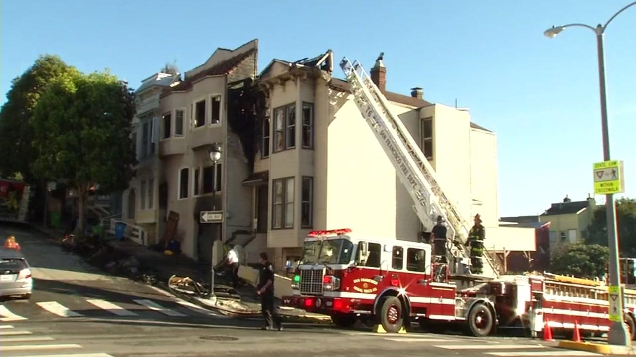 Three homes were destroyed in a gas-fueled fire in San Franciscos Castro District on Thursday, Oct. 20, 2016.