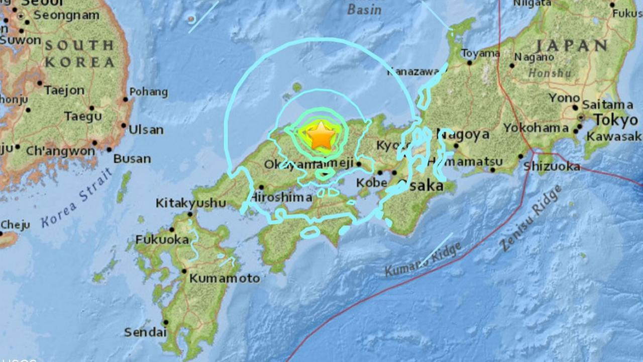 This image shows the epicenter of the earthquake that struck western Japan on Oct. 20, 2016.