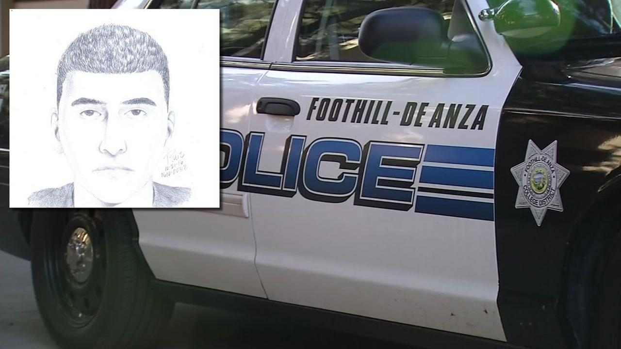 This image shows a sketch released by Foothill-De Anza College police after a man was reportedly posing as a cop and trying to lure a student into a car.