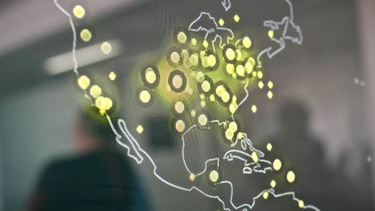 FILE: In this picture taken on March 5, 2015, a map of the United States displayed on a computer screen shows cyber attacks in real time.