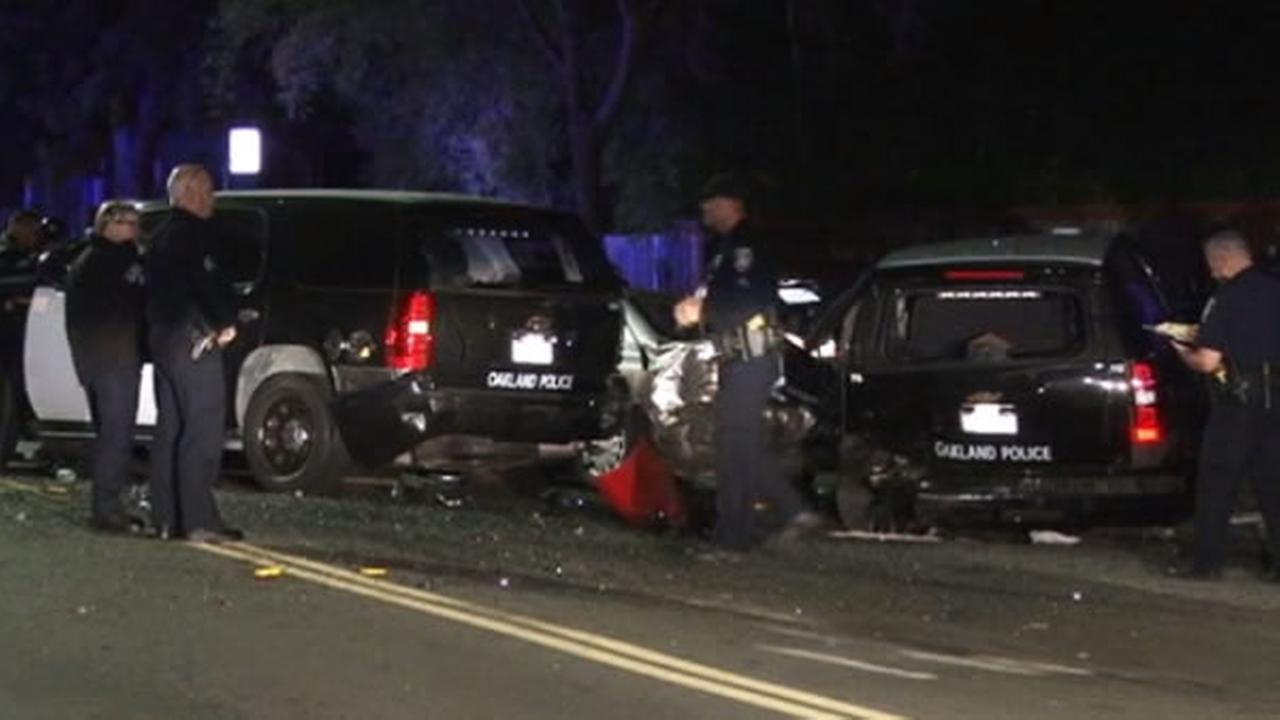 Two police vehicles were involved in a fatal car accident in Oakland, Calif. on Tuesday, Oct 25, 2016.
