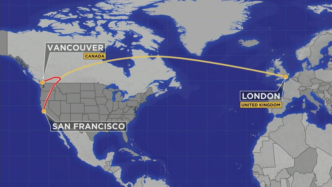 This map shows the flight path of a British Airways plane traveling from San Francisco to London that had to make an emergency landing on Tuesday, Oct. 25, 2016.