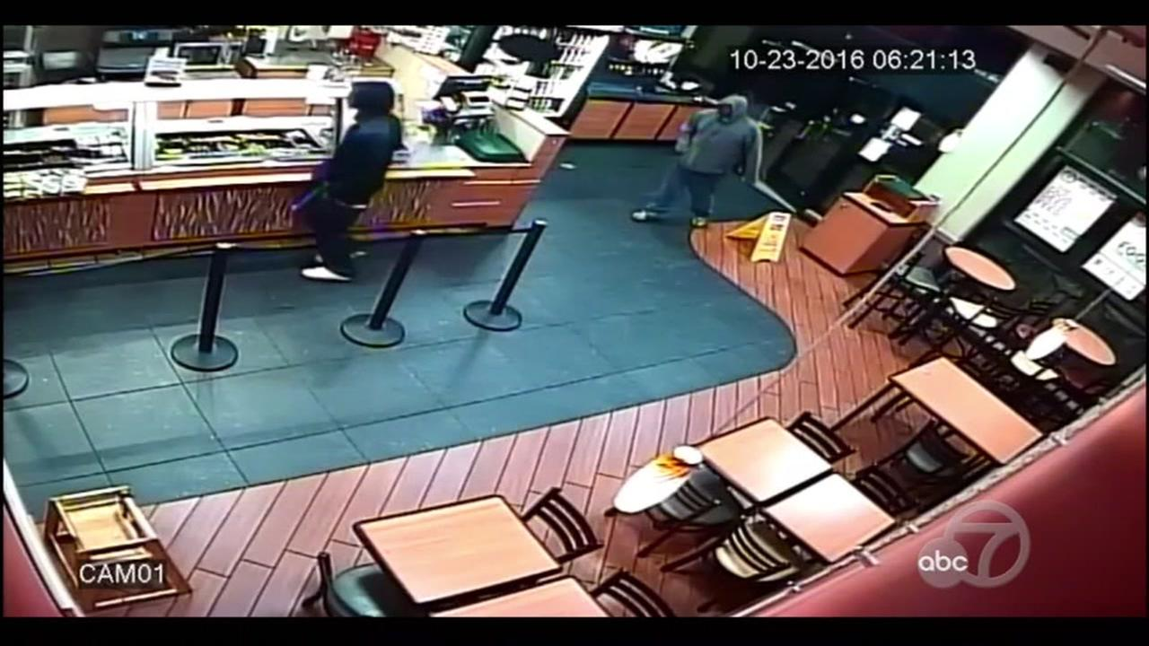 Surveillance footage shows two suspects in a violent attack at a Subway sandwich shop in El Cerrito, Calif.