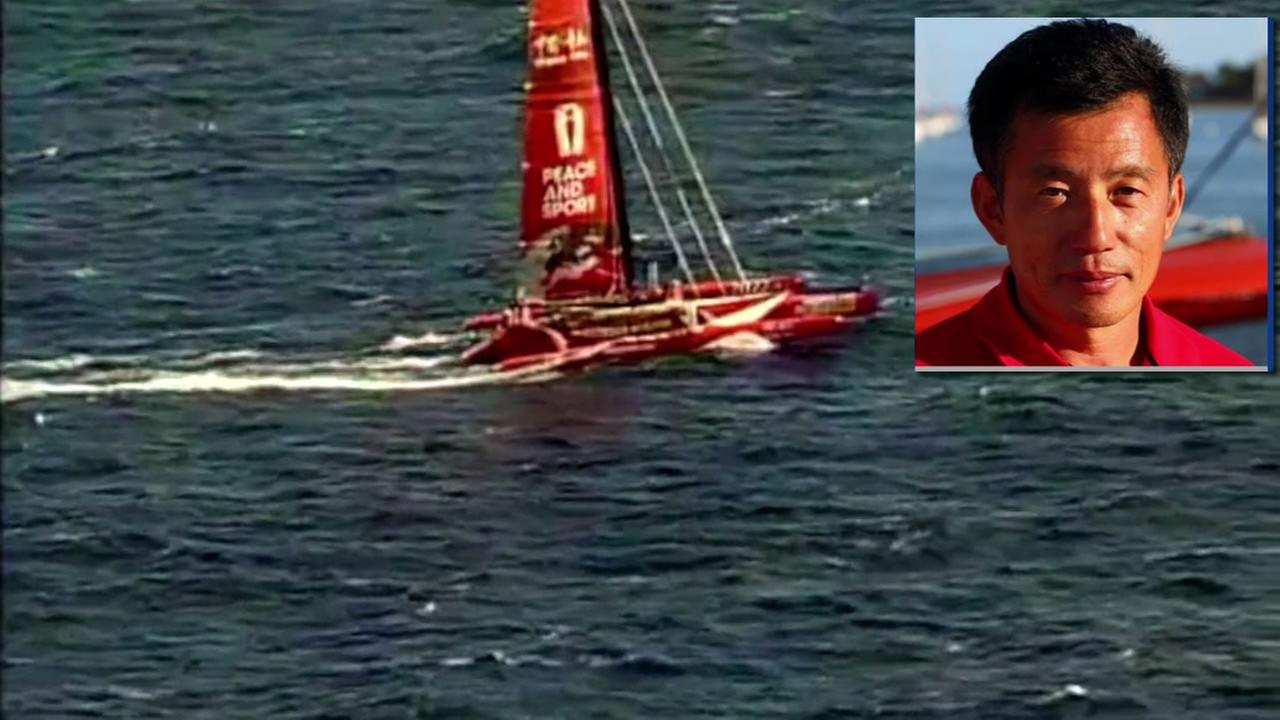 The image shows Guo Chuan, a sailor who went missing after he was trying to cross the Pacific to reach China.