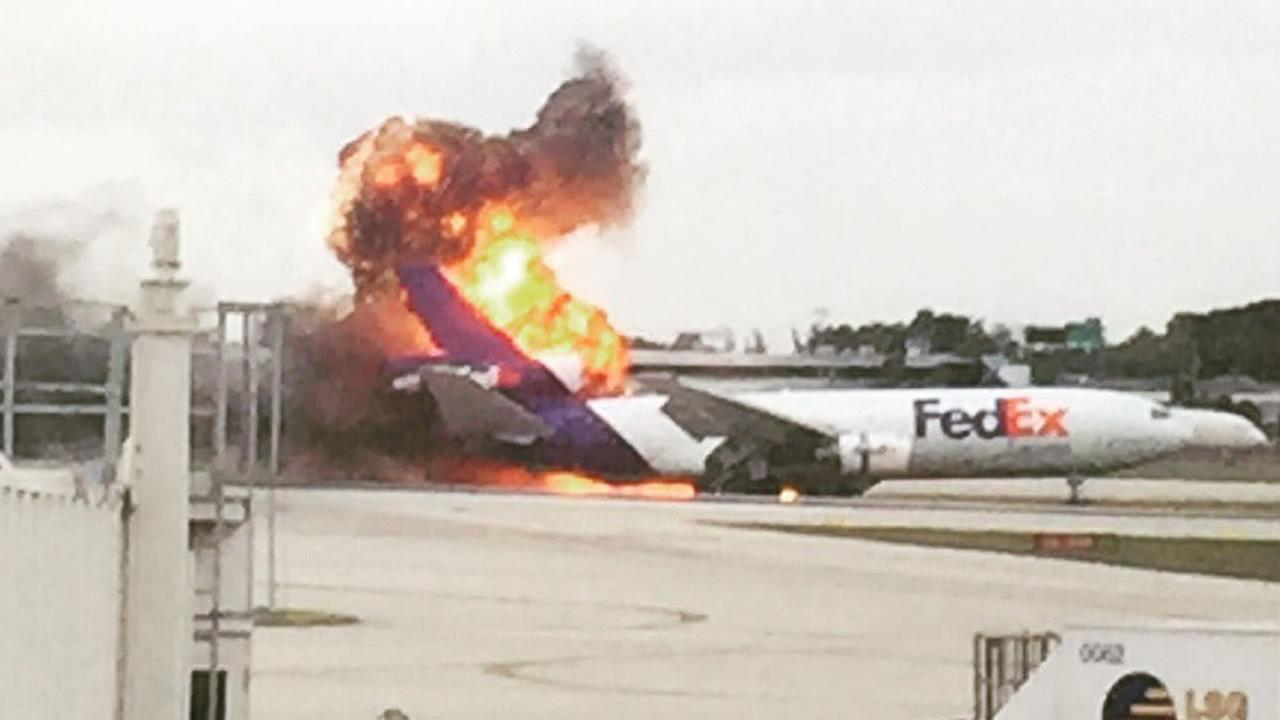 This image shows the moment a FedEx plane exploded at the Fort Lauderdale Airport in Florida on Oct. 28, 2016.