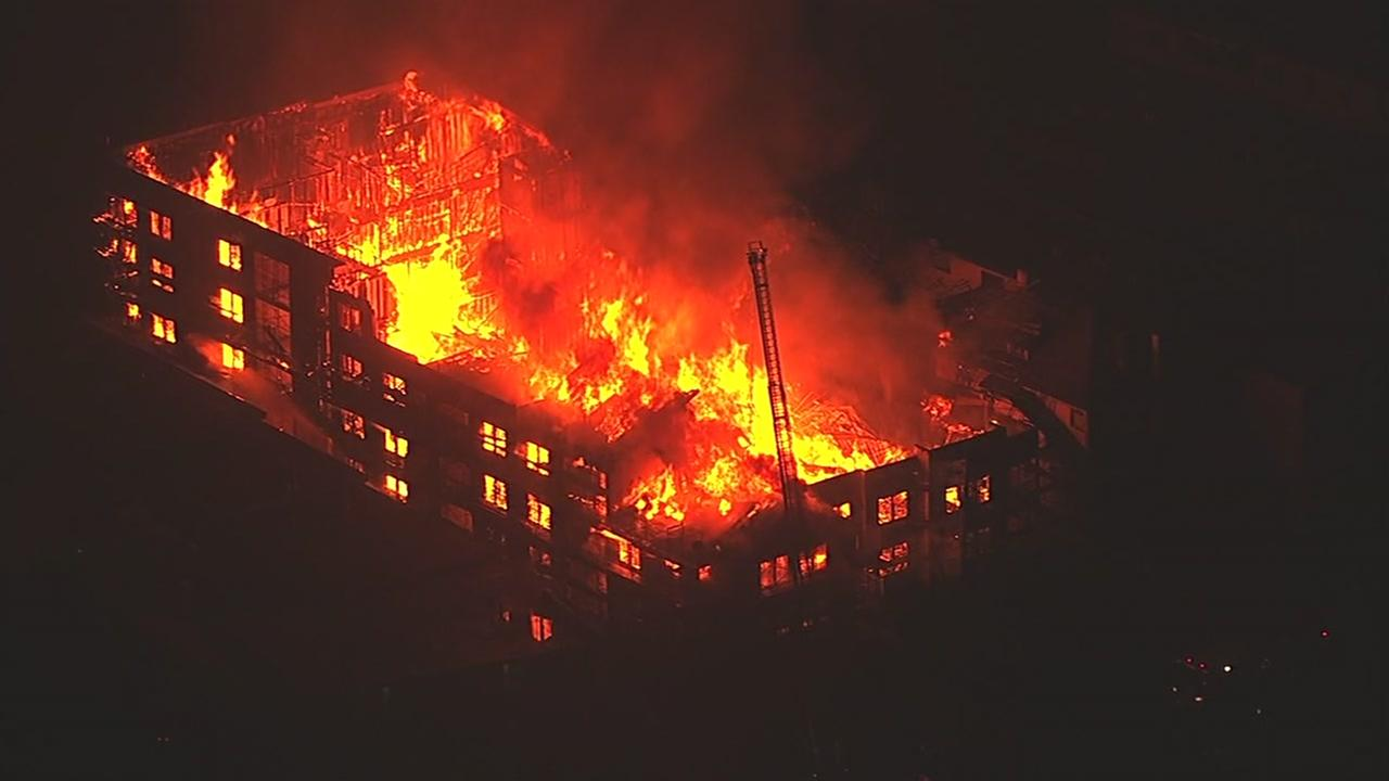 A massive fire broke out in Oakland, Calif. on Monday, Oct. 31, 2016.KGO-TV