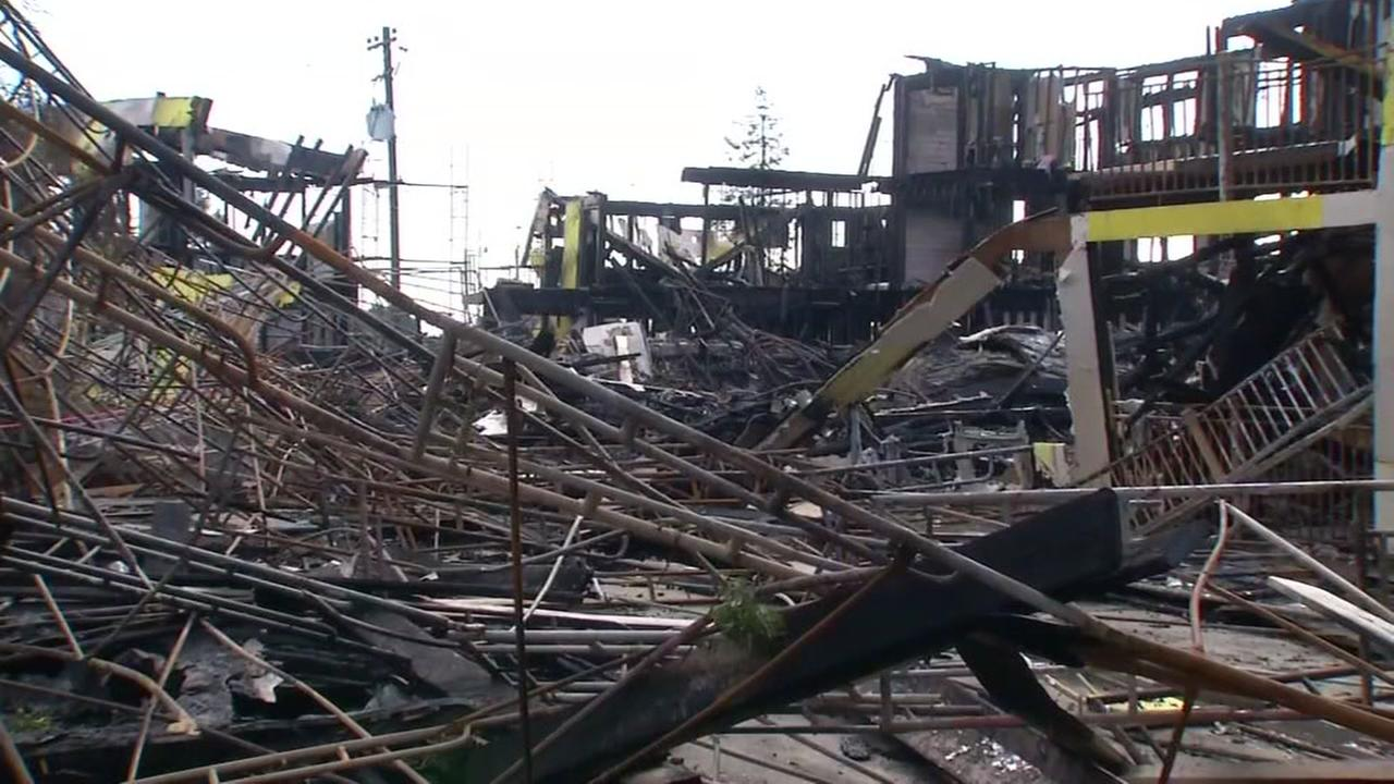 This undated image shows the rubble of the Oakland fire on Lester Avenue.