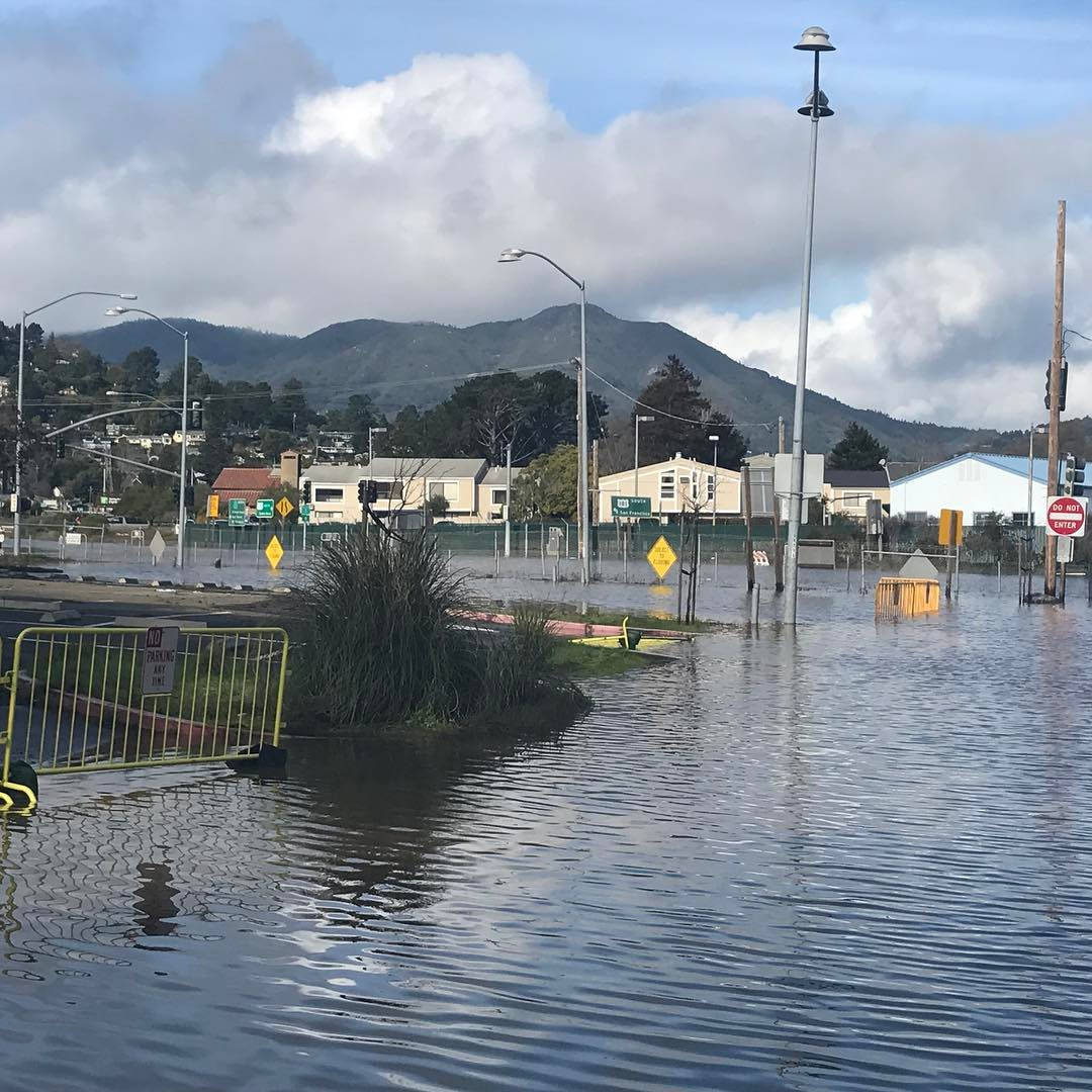 <div class='meta'><div class='origin-logo' data-origin='none'></div><span class='caption-text' data-credit='bombacat007/Instagram'>Manzanita parking lot in Mill Valley, Calif. is seen under water on Jan. 11, 2017.</span></div>
