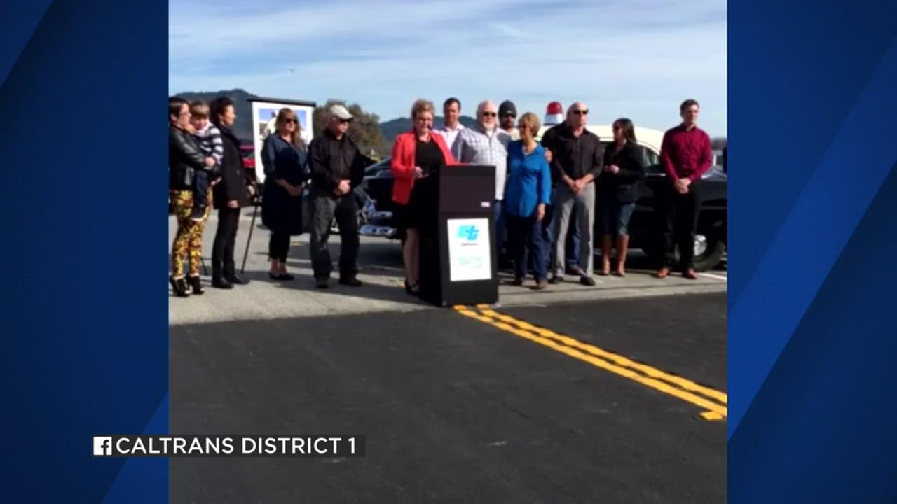 This image shows a crowd gathering in Willits, Calif. at the opening of the Willits Bypass on Highway 101 on Thursday, Nov. 4, 2016.