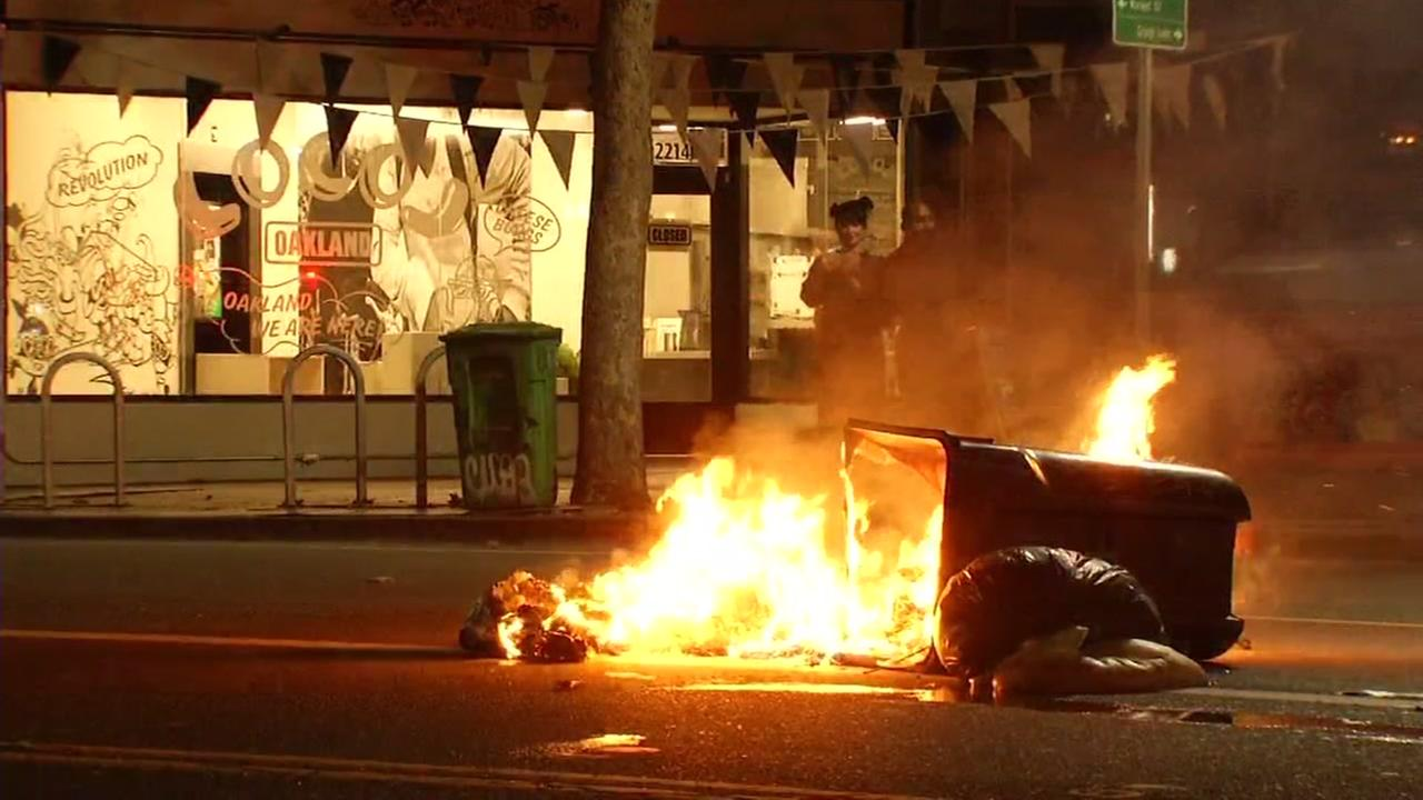 This image shows fires set by protesters in Oakland following the announcement of the 2016 election results Nov. 9, 2016.KGO-TV