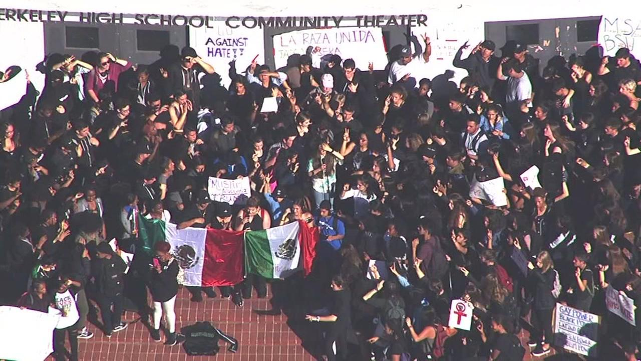 Students gathered outside a Berkeley high school on Wednesday, Nov. 9, 2016.