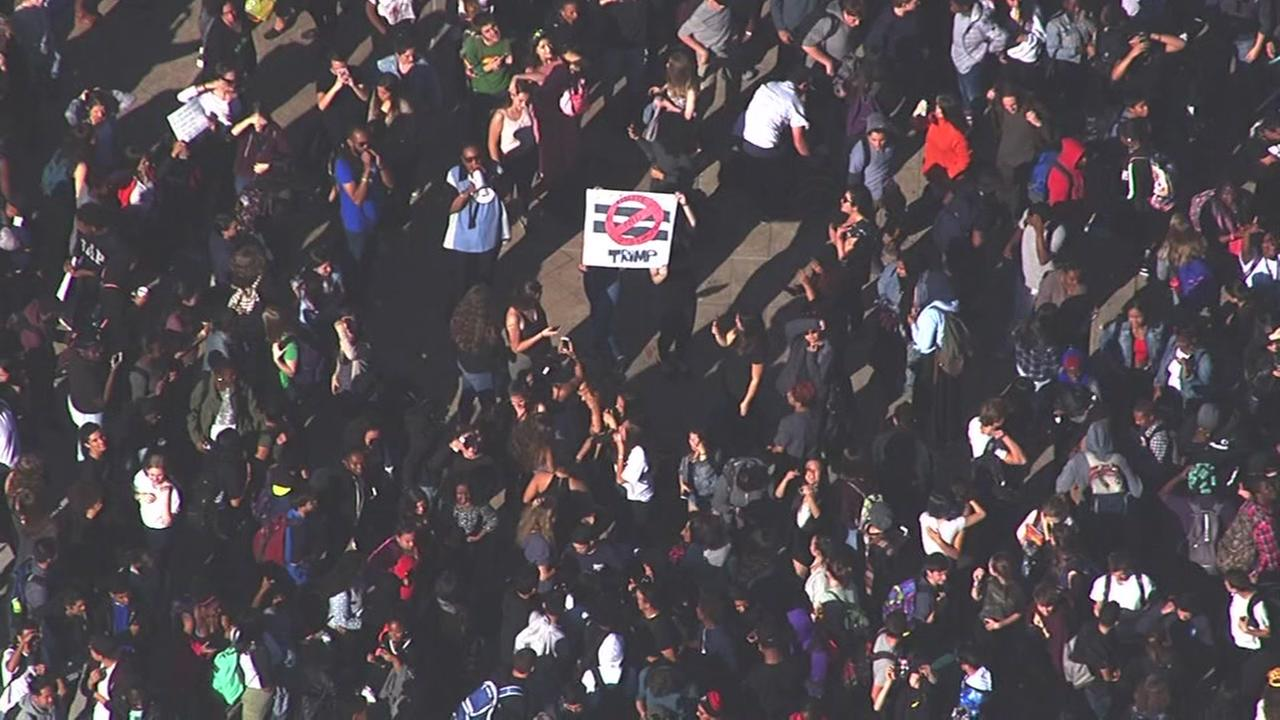 Students gathered outside a Berkeley high school on Wednesday, Nov. 9, 2016.KGO-TV