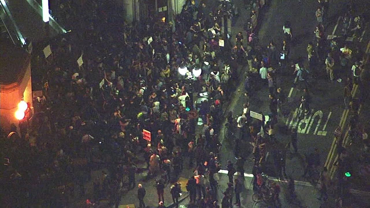This image shows protesters gathered at Frank Ogawa Plaza in Oakland, Calif. on Nov. 9, 2016.KGO-TV