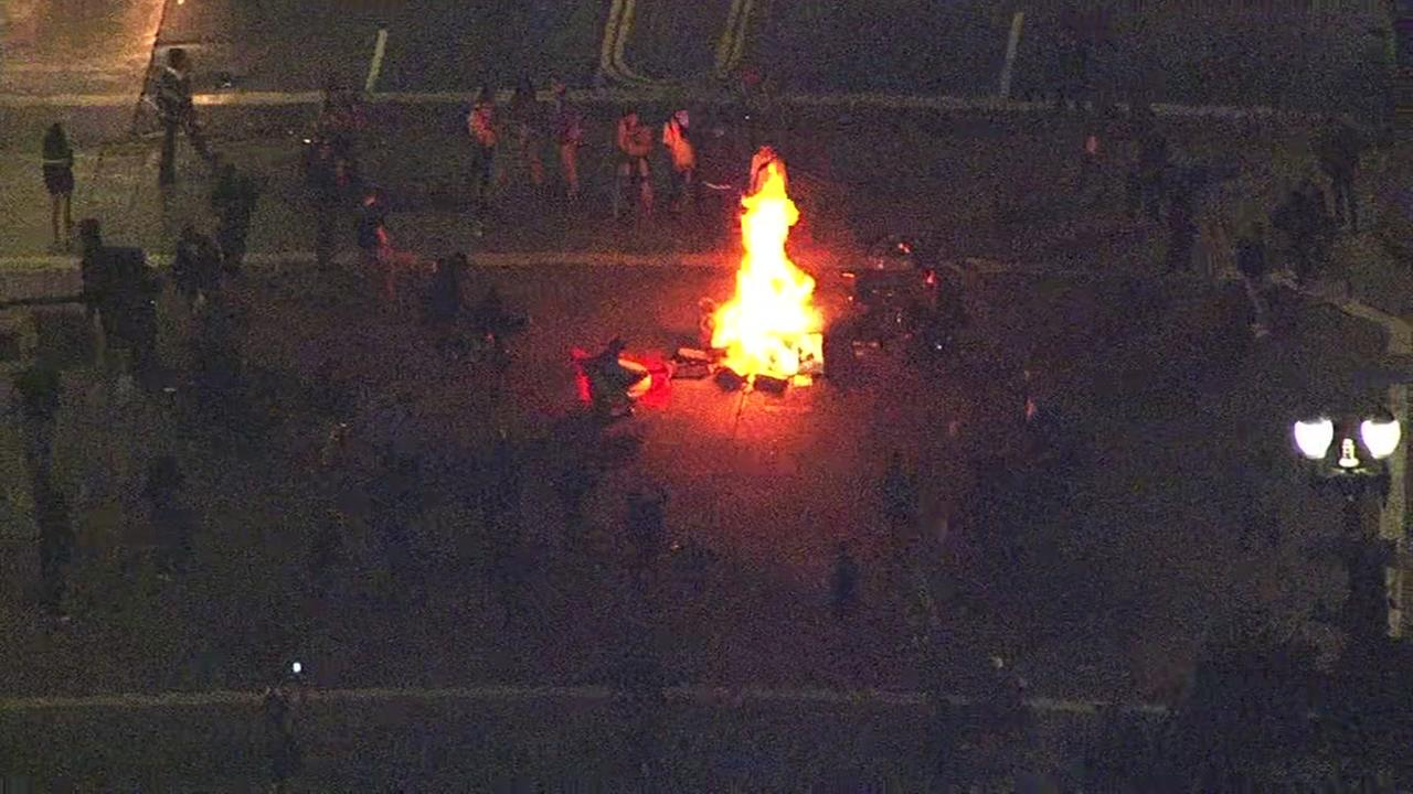 This image shows fires being set during an anti-Trump protest in Oakland, Calif.KGO-TV