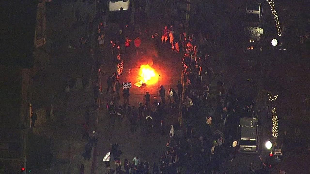 This image shows fires being set during an anti-Trump protest in Oakland, Calif. on Nov. 9, 2016. KGO-TV