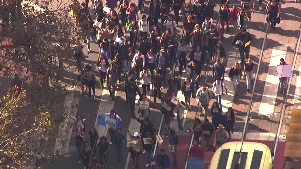 Thousands hold protest in San Francisco over Donald Trump, Thursday, November 10, 2016.KGO-TV