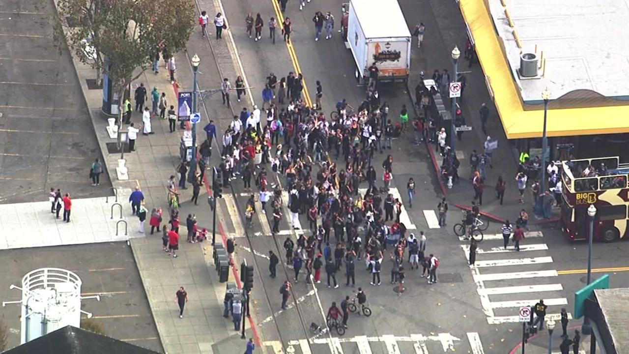 Massive protest over Donald Trump through streets of San Francisco, Thursday, November 10, 2016.KGO-TV