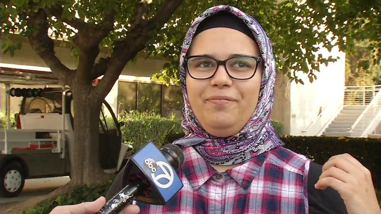 Sophomore Esra Altun says she was attacked for wearing a hijab while walking in a San Jose State University parking garage on Wednesday, Nov. 10, 2016.
