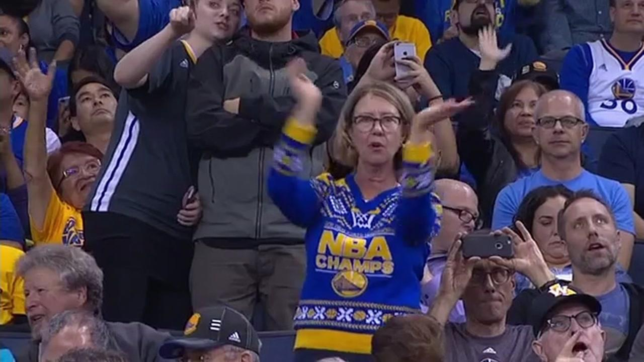 FILE -- Robin Schreiber is getting a lot of attention on social media for her enthusiastic dancing at Golden State Warriors games.