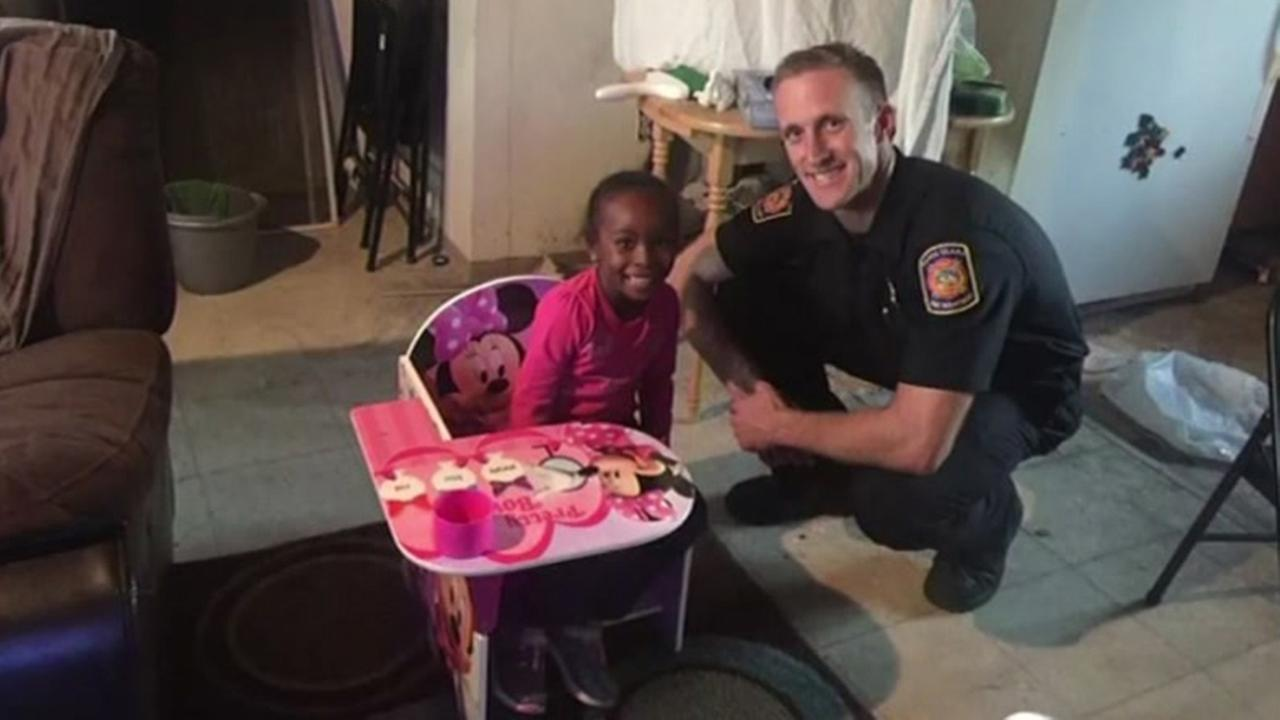 Santa Clara Firefighters replace desk of young girl that had been destroyed in fire.