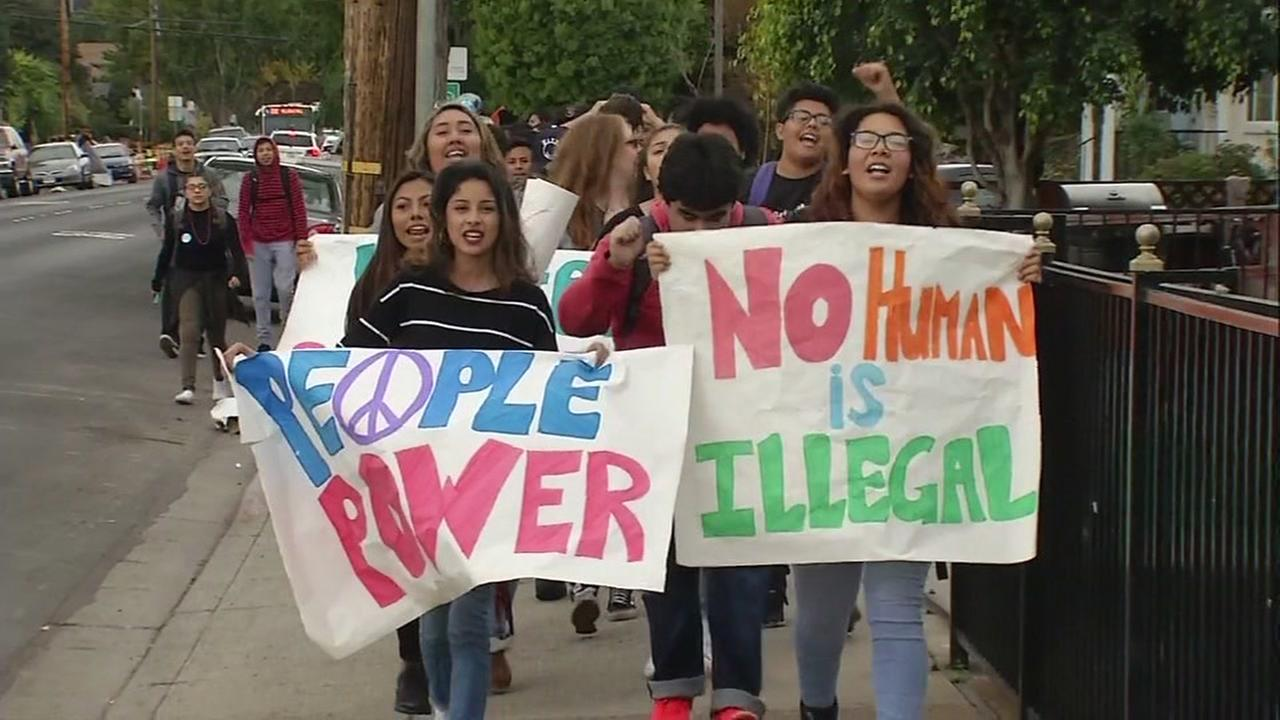 This image shows high school students from San Mateo holding a protest after walking out of school on Nov. 15, 2016.