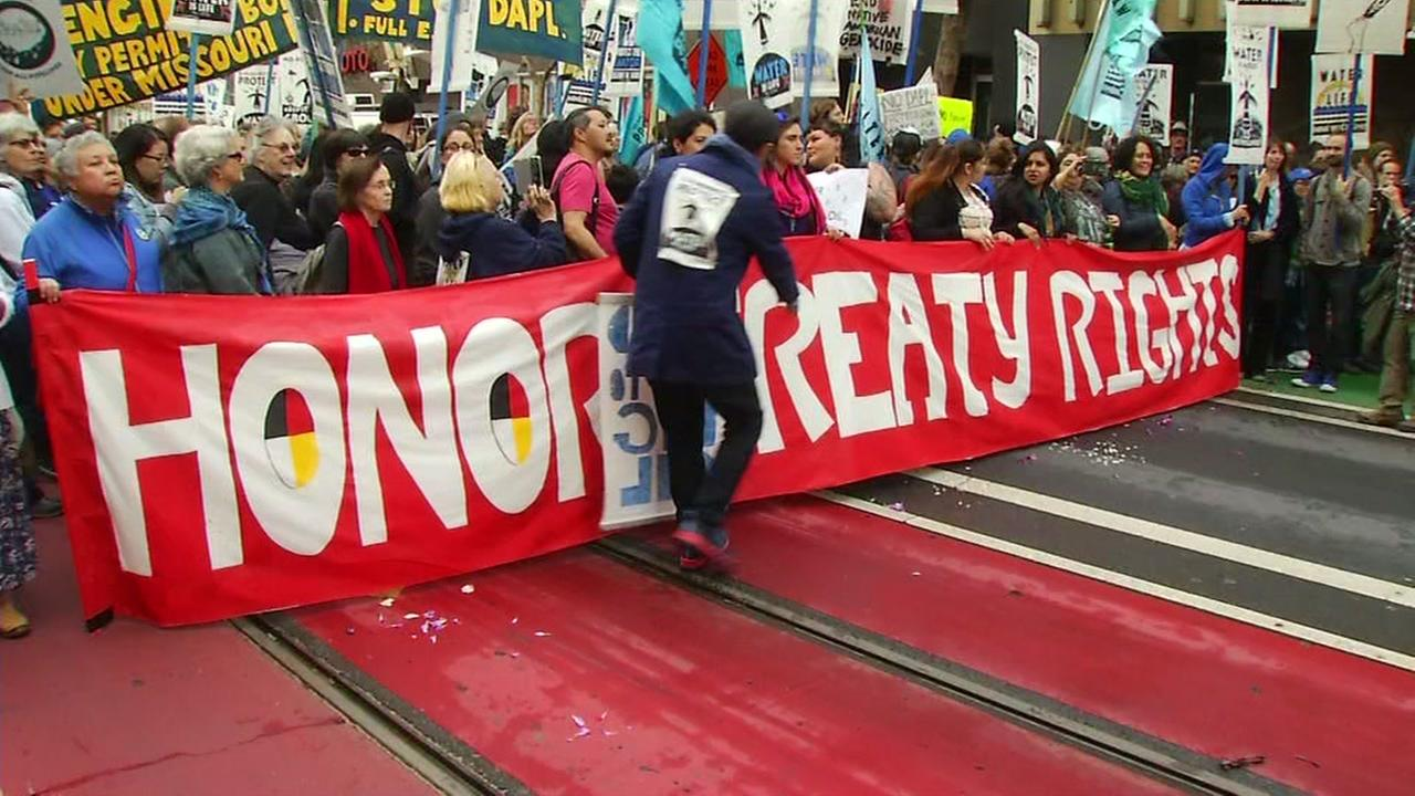 Hundreds march down Market Street as part of a Dakota Pipeline protest in San Francisco on Tuesday, Nov. 15, 2016.KGO-TV