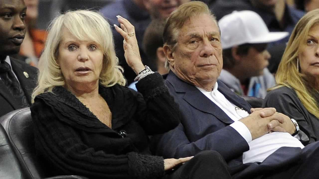 Shelly Sterling sits with her husband, Donald Sterling
