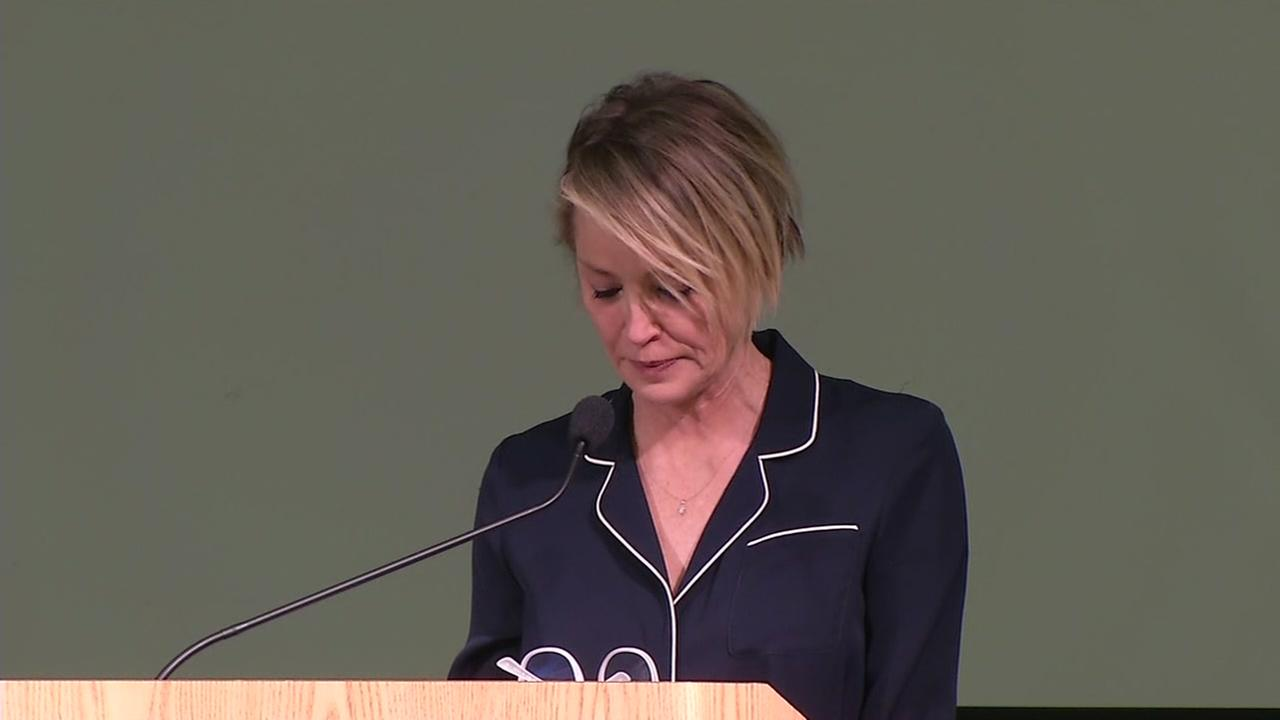 Sharon Stone reads the victim impact statement of Emily Doe at Santa Clara University in Santa Clara, Calif. on Nov. 18, 2016.