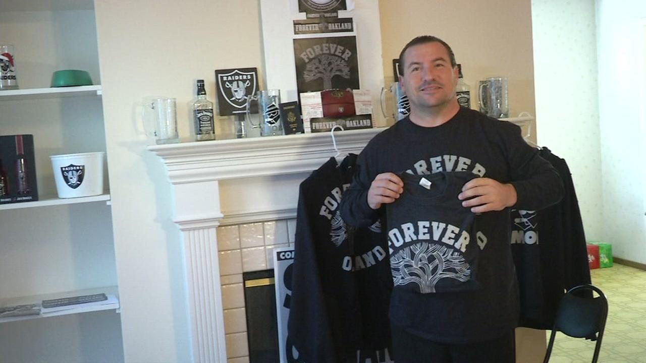 Oakland Raiders fan Godfather Griz Jones prepares for Monday Night Football in Mexico.