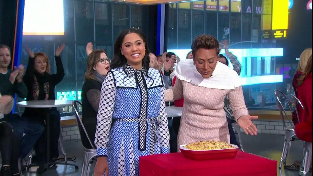 Ayesha Curry cooked up Thanksgiving side dished on Good Morning America, Monday, Nov. 21, 2016.