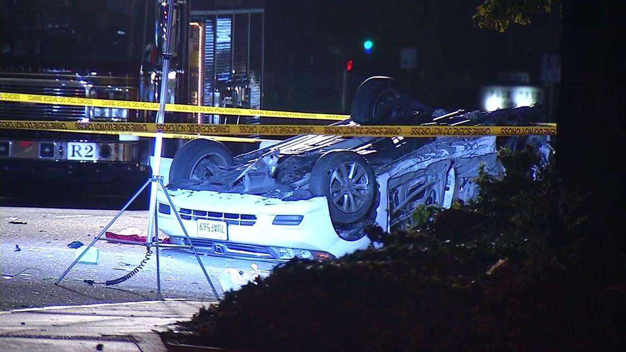 Chase from San Francisco ends in fatal crash in Sunnyvale, California, Tuesday, November 22, 2016.