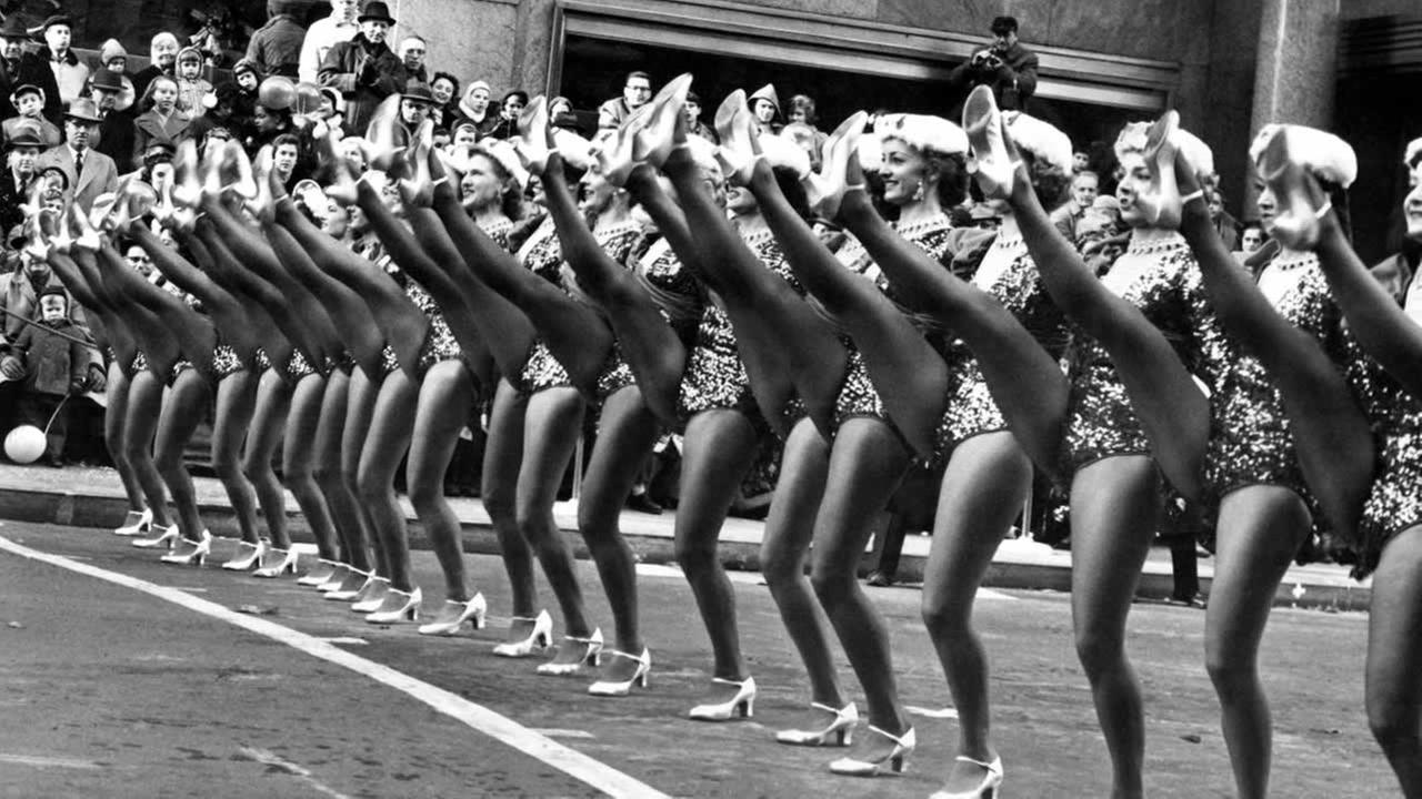 Some of the Radio City Music Hall?s Rockettes as they were performing in the annual Macy?s Thanksgiving Day parade in New York on Nov. 27, 1958.AP Photo/John Lindsay