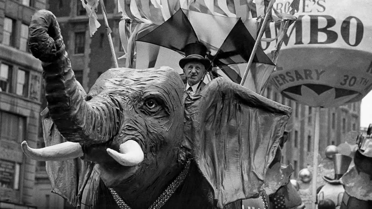 Comedian Jimmy Durante rides on a Jumbo the elephant float during the annual Macys Thanksgiving Day Parade in New York City on Nov. 22, 1962.AP Photo)