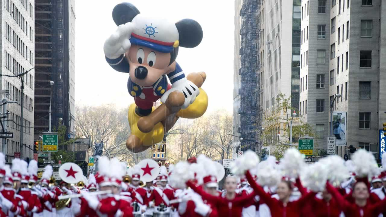 The Sailor Mickey balloon floats in the Macys Thanksgiving Day Parade in New York in New York, Thursday, Nov. 22, 2012.AP Photo/Charles Sykes