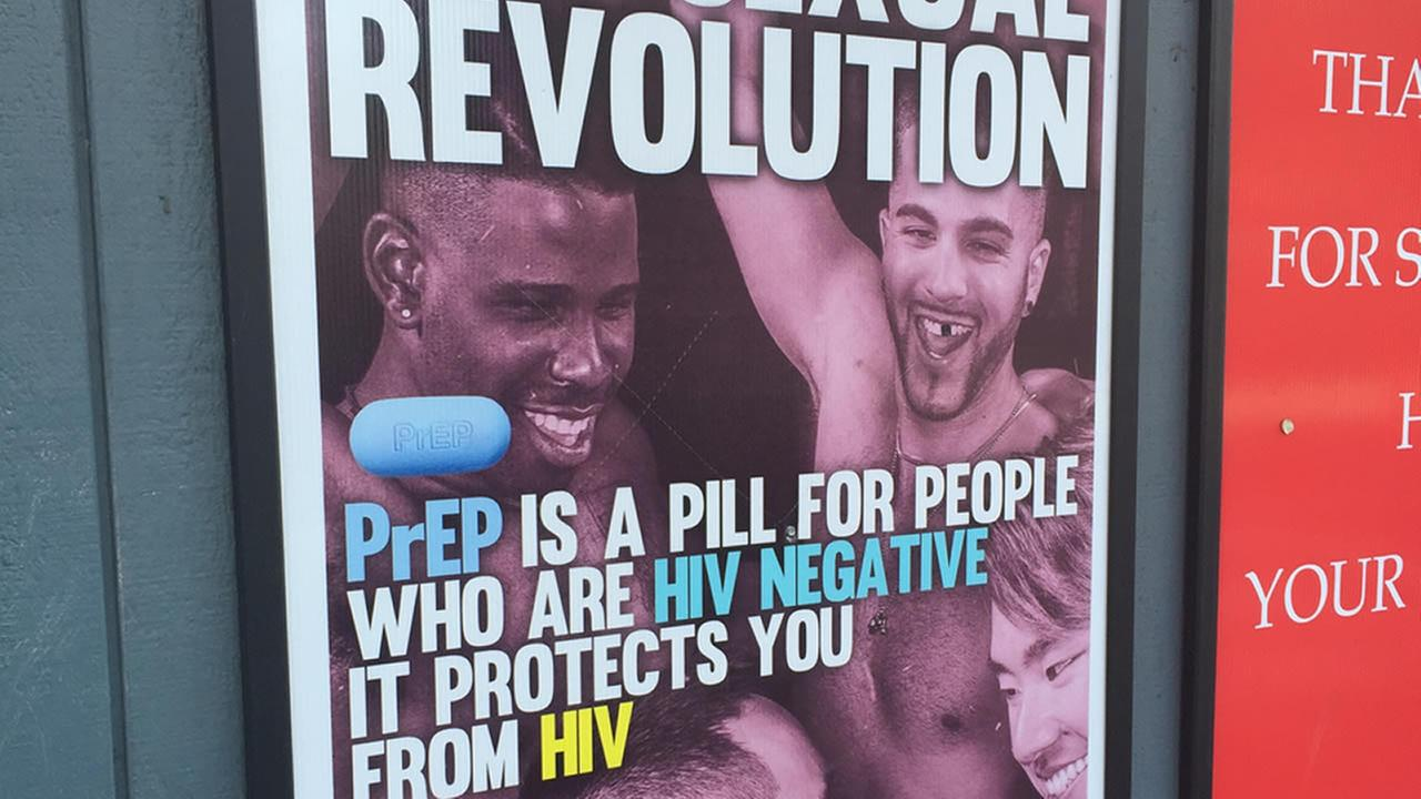 A poster promoting PrEP, a pill to prevent HIV, is seen in this undated image.