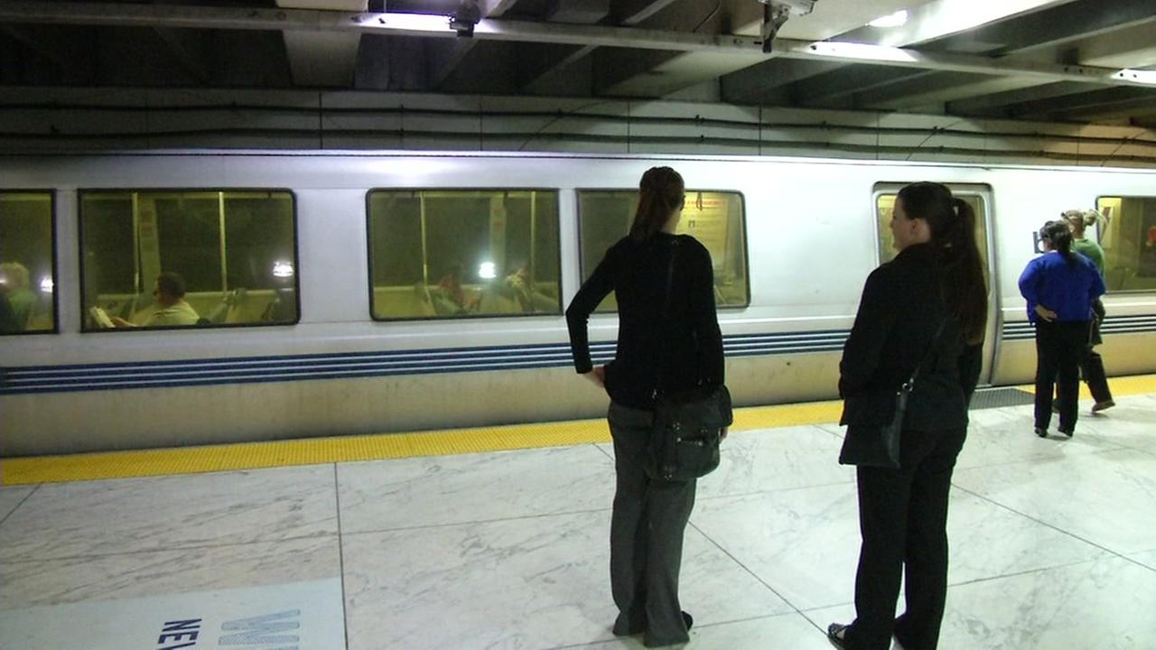 Commuters wait to board their BART train at Embarcadero Station in San Francisco in this undated photo.