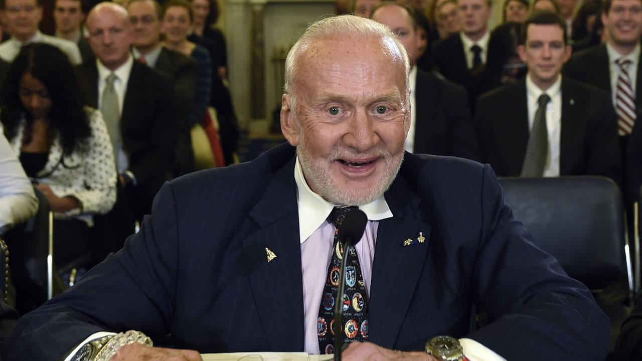 In this Tuesday, Feb. 24, 2015, file photo, Buzz Aldrin speaks before the Senate subcommittee on Space, Science, and Competitiveness on Capitol Hill in Washington.