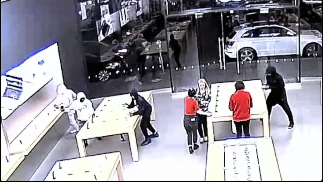 Theft at Apple Store in San Francisco caught on video.