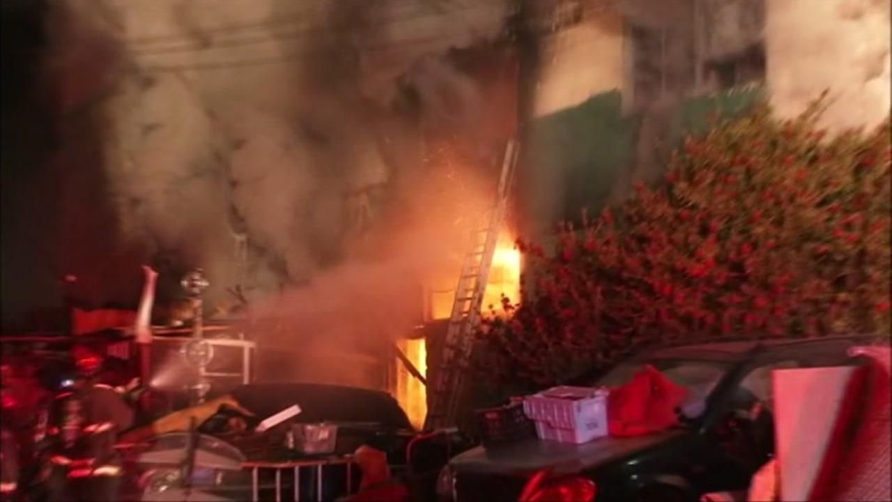 Nine people have died in a three-alarm fire at a building in Oakland, California, Saturday, December 3, 2016.KGO-TV