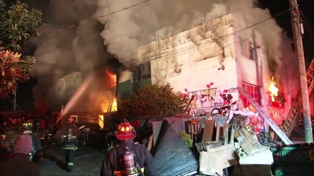 Nine people have died in a three-alarm fire at a building in Oakland, California, Saturday, December 3, 2016.