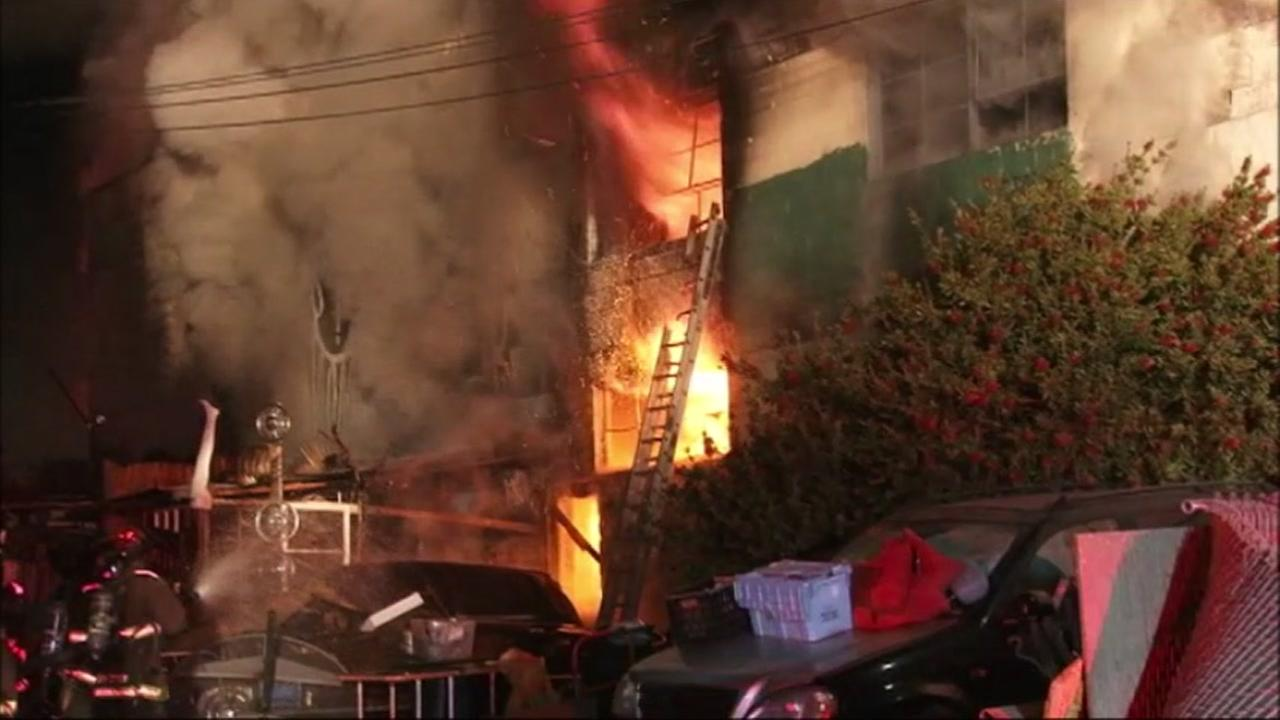 At least nine people have died in a three-alarm fire at a building in Oakland, California, Saturday, December 3, 2016.KGO-TV