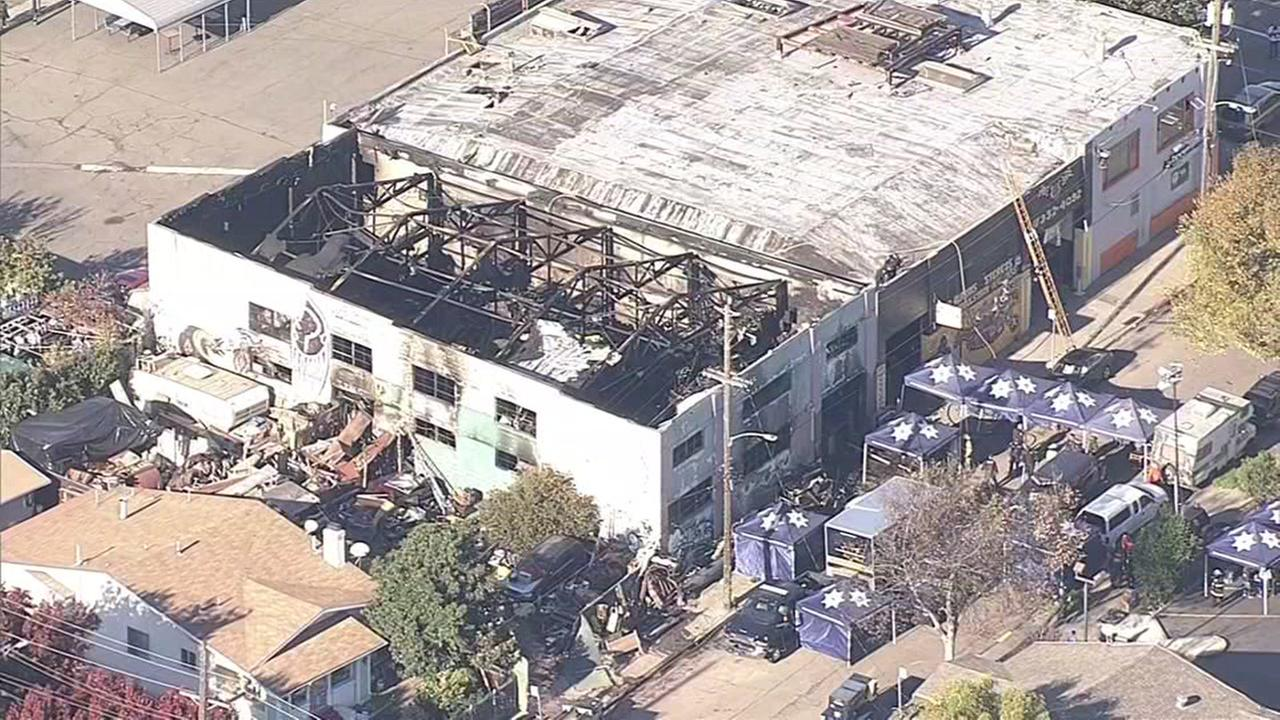 This aerial view shows the Ghost Ship warehouse in Oakland, Calif. following a devastating fire that took place on Friday, Dec. 2, 2016.