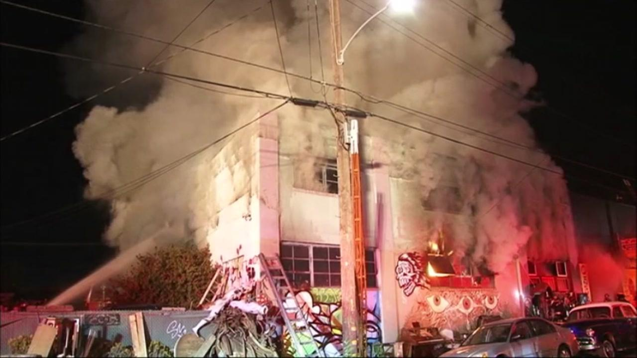 A devastating fire at Ghost Ship warehouse in Oakland, Calif. on Friday, Dec. 2, 2016 has claimed the lives of at least 36 people.