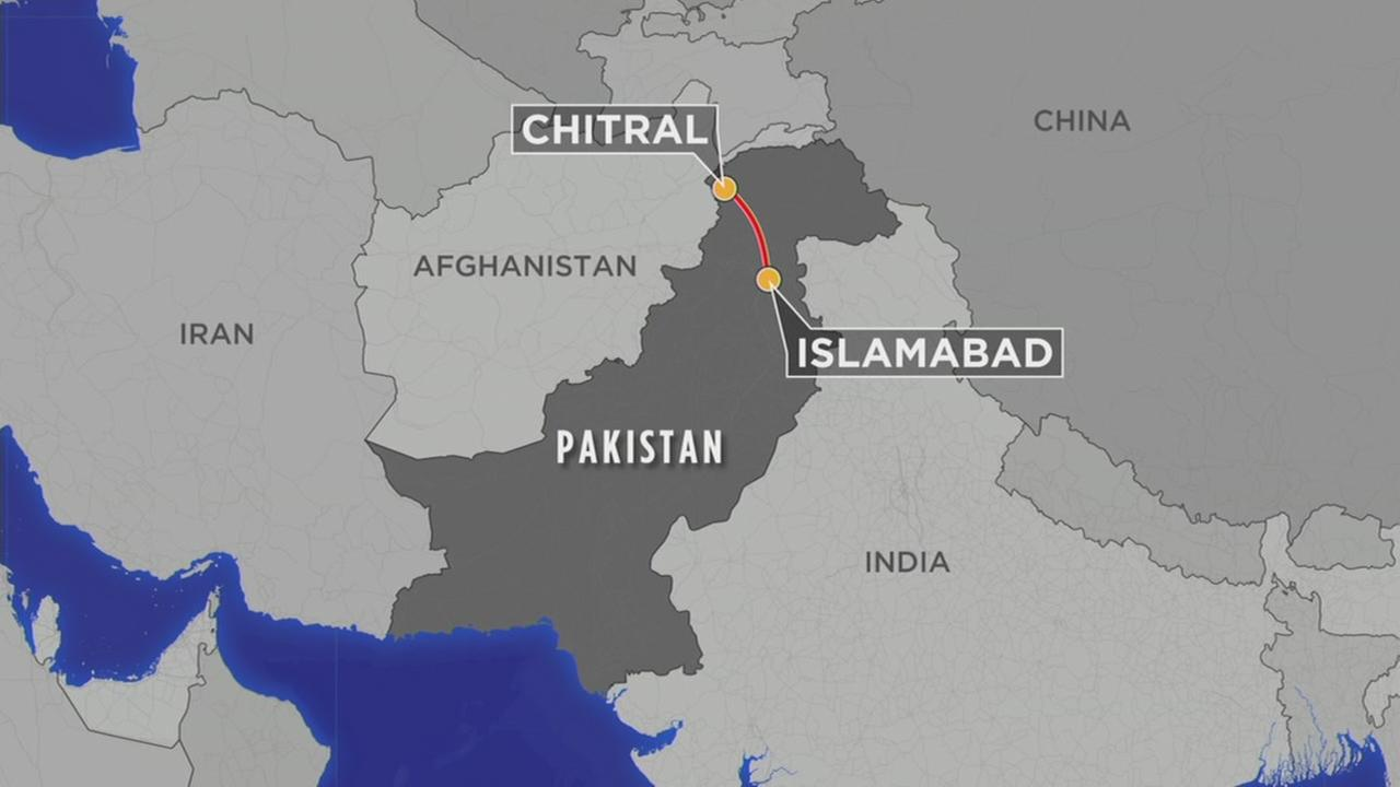 This map shows the location of where a Pakistani national carrier plane went missing shortly after takeoff on Wednesday, Dec. 7, 2016.